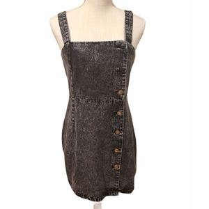 Dari Black Acid Wash Denim Button Up Dress Medium